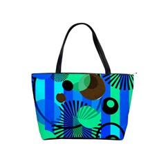 Blue Green Stripes Dots Large Shoulder Bag