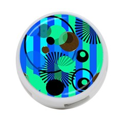 Blue Green Stripes Dots 4 Port Usb Hub (two Sides)
