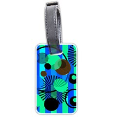 Blue Green Stripes Dots Luggage Tag (Two Sides)