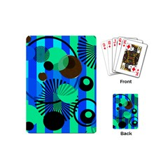 Blue Green Stripes Dots Playing Cards (mini)