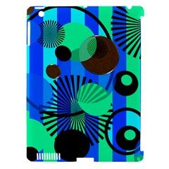 Blue Green Stripes Dots Apple Ipad 3/4 Hardshell Case (compatible With Smart Cover)
