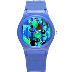Blue Green Stripes Dots Plastic Sport Watch (small)