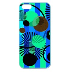 Blue Green Stripes Dots Apple Seamless Iphone 5 Case (color)
