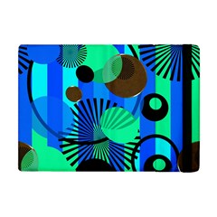 Blue Green Stripes Dots Apple Ipad Mini Flip Case