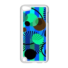 Blue Green Stripes Dots Apple Ipod Touch 5 Case (white)