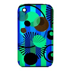 Blue Green Stripes Dots Apple Iphone 3g/3gs Hardshell Case (pc+silicone)