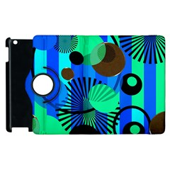 Blue Green Stripes Dots Apple Ipad 3/4 Flip 360 Case