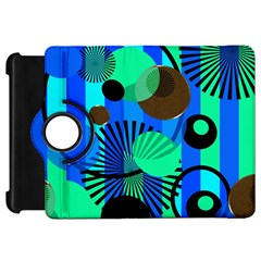 Blue Green Stripes Dots Kindle Fire HD 7  (1st Gen) Flip 360 Case