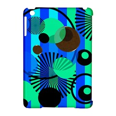 Blue Green Stripes Dots Apple iPad Mini Hardshell Case (Compatible with Smart Cover)