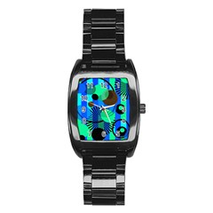 Blue Green Stripes Dots Stainless Steel Barrel Watch