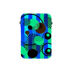 Blue Green Stripes Dots Apple Ipad Mini Protective Sleeve