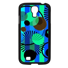 Blue Green Stripes Dots Samsung Galaxy S4 I9500/ I9505 Case (Black)