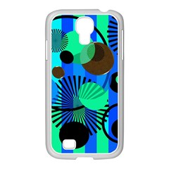 Blue Green Stripes Dots Samsung GALAXY S4 I9500/ I9505 Case (White)