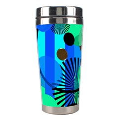 Blue Green Stripes Dots Stainless Steel Travel Tumbler