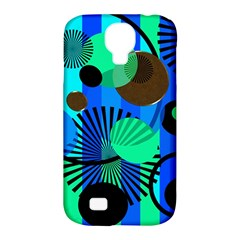 Blue Green Stripes Dots Samsung Galaxy S4 Classic Hardshell Case (pc+silicone)