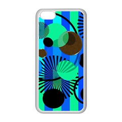 Blue Green Stripes Dots Apple iPhone 5C Seamless Case (White)
