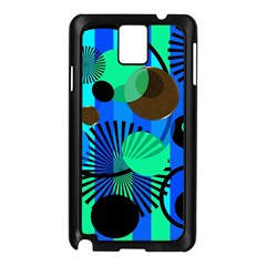 Blue Green Stripes Dots Samsung Galaxy Note 3 N9005 Case (black)