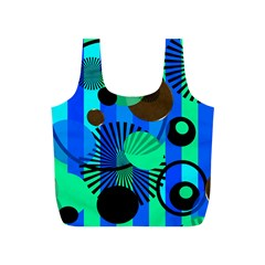 Blue Green Stripes Dots Reusable Bag (S)