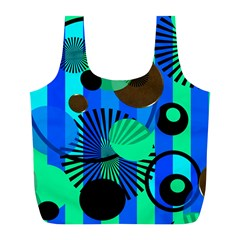 Blue Green Stripes Dots Reusable Bag (L)