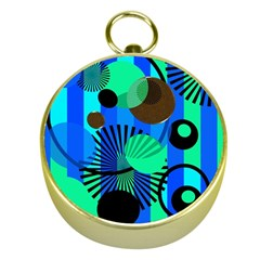 Blue Green Stripes Dots Gold Compass