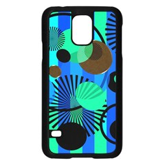 Blue Green Stripes Dots Samsung Galaxy S5 Case (Black)