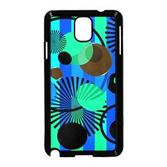 Blue Green Stripes Dots Samsung Galaxy Note 3 Neo Hardshell Case (Black)