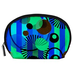 Blue Green Stripes Dots Accessory Pouch (Large)