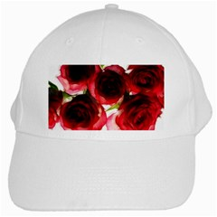 Pink And Red Roses On White White Baseball Cap