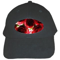 Pink And Red Roses On White Black Baseball Cap
