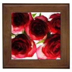 Pink And Red Roses On White Framed Ceramic Tile