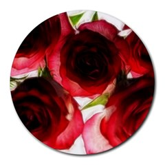 Pink And Red Roses On White 8  Mouse Pad (round)