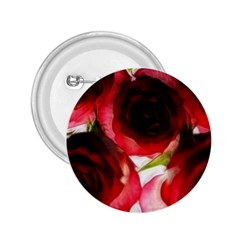 Pink and Red Roses on White 2.25  Button