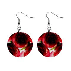 Pink and Red Roses on White Mini Button Earrings