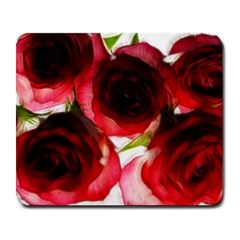 Pink And Red Roses On White Large Mouse Pad (rectangle)