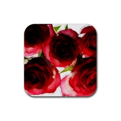 Pink and Red Roses on White Drink Coaster (Square)