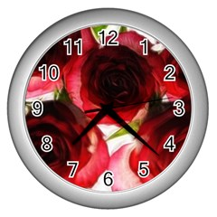 Pink And Red Roses On White Wall Clock (silver)