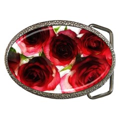 Pink and Red Roses on White Belt Buckle (Oval)