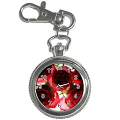 Pink and Red Roses on White Key Chain Watch
