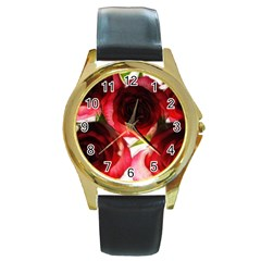 Pink And Red Roses On White Round Leather Watch (gold Rim)