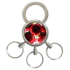 Pink and Red Roses on White 3-Ring Key Chain