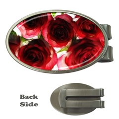 Pink And Red Roses On White Money Clip (oval)