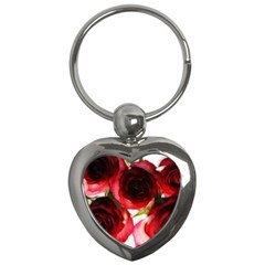 Pink And Red Roses On White Key Chain (heart)