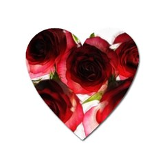 Pink And Red Roses On White Magnet (heart)