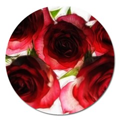Pink and Red Roses on White Magnet 5  (Round)