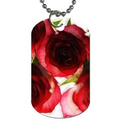 Pink And Red Roses On White Dog Tag (one Sided)