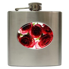 Pink And Red Roses On White Hip Flask