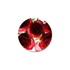 Pink and Red Roses on White Golf Ball Marker
