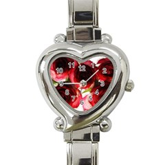 Pink and Red Roses on White Heart Italian Charm Watch