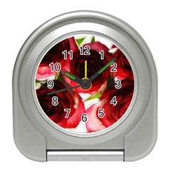 Pink and Red Roses on White Desk Alarm Clock