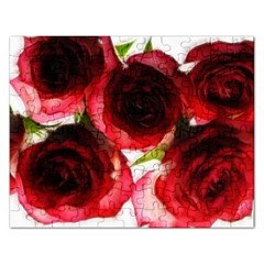 Pink and Red Roses on White Jigsaw Puzzle (Rectangle)